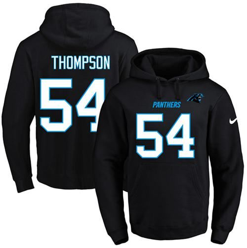 Nike Panthers #54 Shaq Thompson Black Name & Number Pullover NFL Hoodie