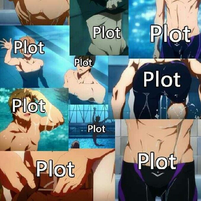 """""""We watch anime for the plot right girls?"""" """"Yeah, the plot, right... That why..."""" But no I do really like the show. Not because of a bunch of beautiful shirtless men swimming, well maybe a little bit. It was a good story nonetheless."""