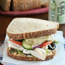 sandwich recipe loaded with greek flavors: hummus, feta cheese, dill ...