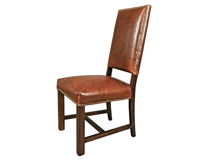 New Pair Brown Leather Dining Side Chairs   Traditional   Dining Chairs    EuroLuxHome