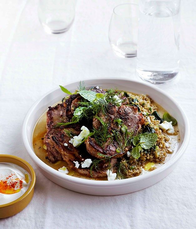 Australian Gourmet Traveller fast recipe for yoghurt lamb with freekah pilaf.
