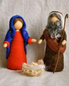 Waldorf inspiradora aguja fieltro muñecos de Navidad: conjunto de Natividad (María, José y Jesús)