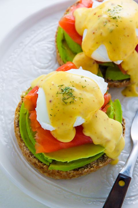 Smoked Salmon & Avocado Eggs Benedict!