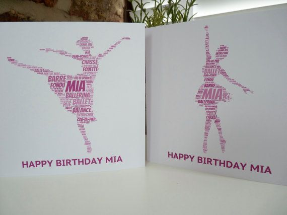 Personalised Ballerina Card, Personalised Birthday Card, Personalised  Card, Ballerina Card