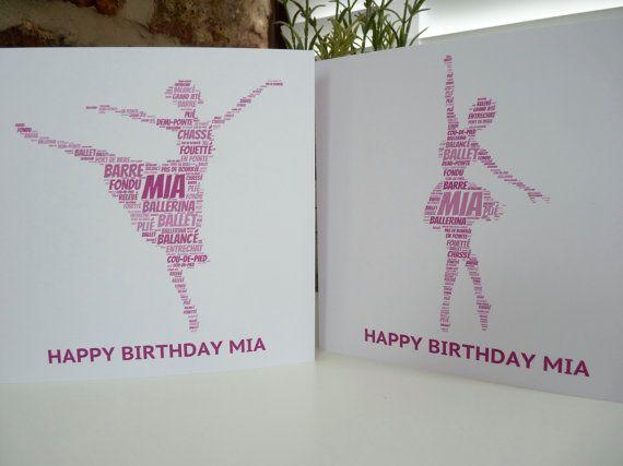 Personalised Ballerina Card, Personalised Birthday Card, Personalised  Card, Ballerina Card