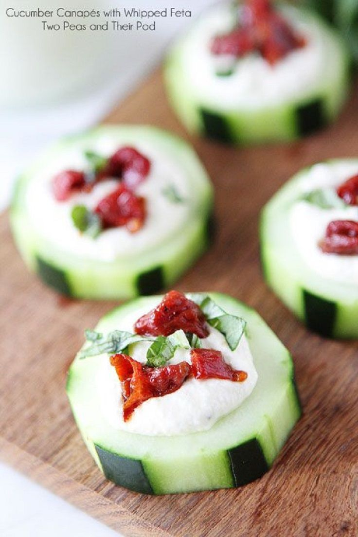 Cucumber canap s with whipped feta sun dried tomatoes for Canape recipes