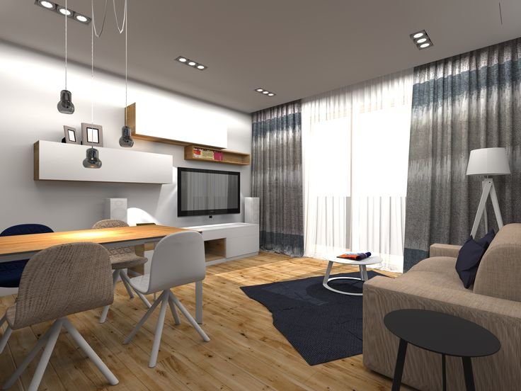 Pokój dzienny w mieszkaniu prywatnym we Wrocławiu. Projekt: ARTECUBO. #living #room #modern #design #interior #wood #oak #wallpaper #tv #shelf #iker #mannequin #chair #&tradition #lightning #artecubo #wroclaw