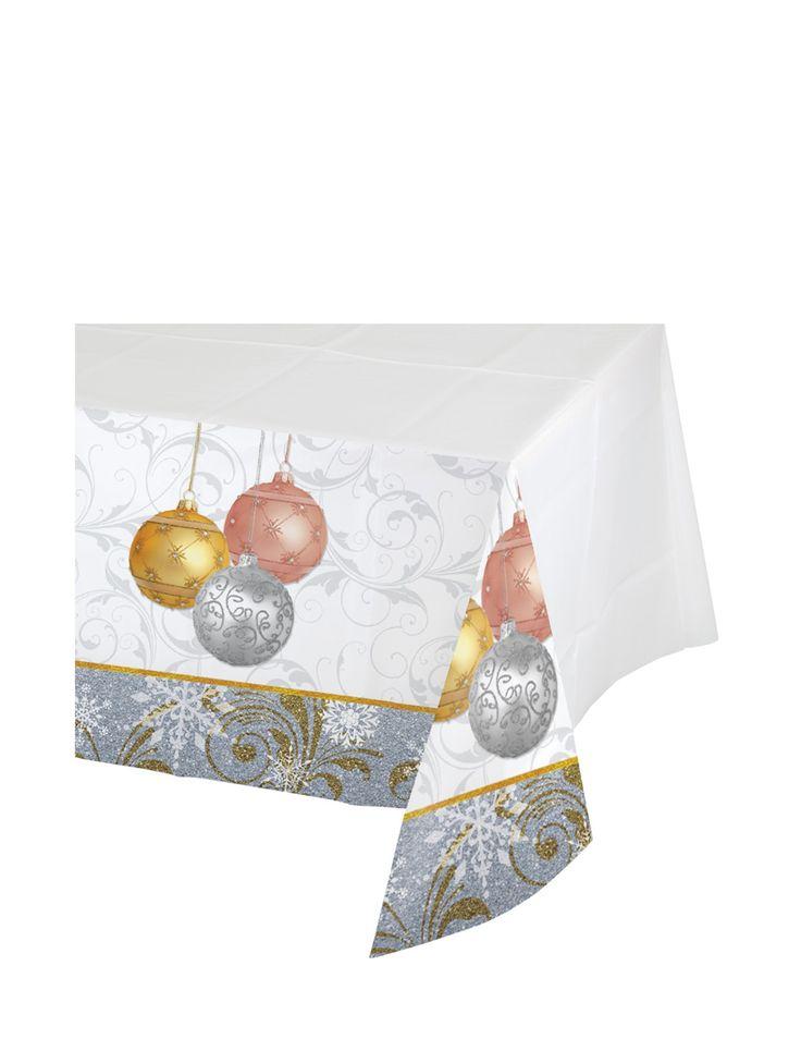 Mantel de plástico bolas de Navidad 137x259 cm