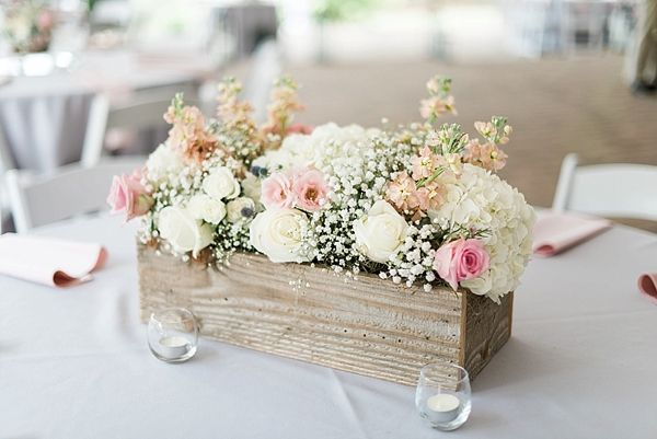Wooden flower box centerpiece | Wedding reception details and decor | Photographed by A.J. Dunlap Photography | The Oaks at Salem Summer Wedding on heartlovealways.com