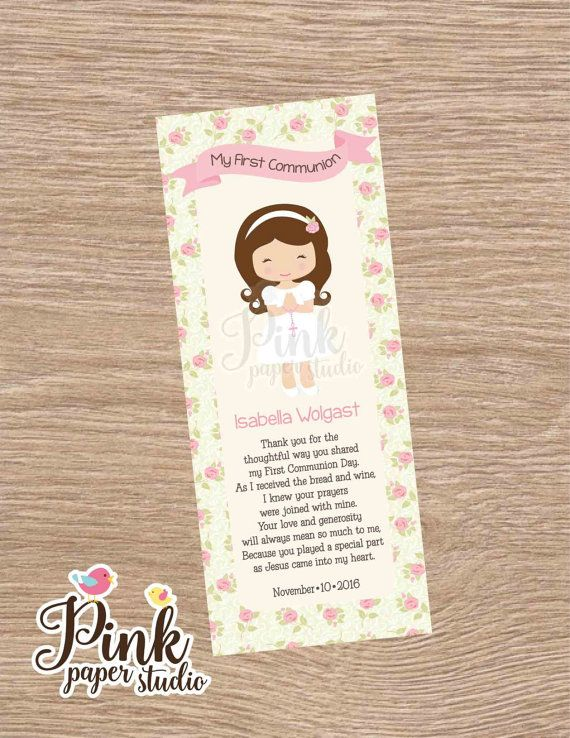 First Communion Favor Cards Bookmark por PinkPaperStudioMiami