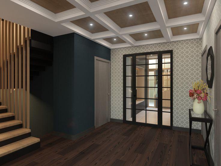 Интерьер коридора и лестничного пространства в загородном доме. Дизайн интерьера в частном доме. Интерьер в современном стиле. Лестница в частном доме. Коридор в доме
