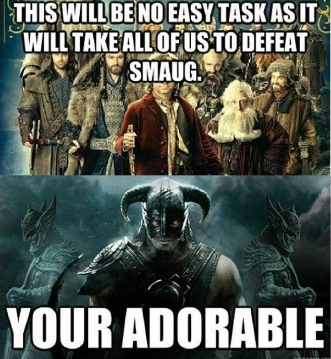 "Skyrim vs LOTR / ""You're"", and Smaug would literally slaughter the dovahkin without realizing he was even there."