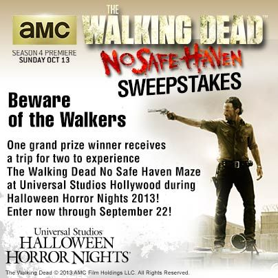 Only one more day left to enter The Walking Dead No Safe Haven sweepstakes! Enter now for your chance to win the grand prize!