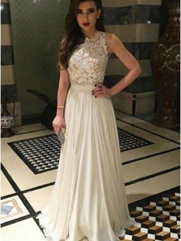 IVORY LONG LACE PROM DRESS 2017