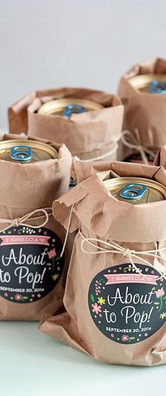 """About to Pop!"" baby shower favors <a class=""pintag"" href=""/explore/babyshower/"" title=""#babyshower explore Pinterest"">#babyshower</a> http://www.styleyoursoiree.com/"