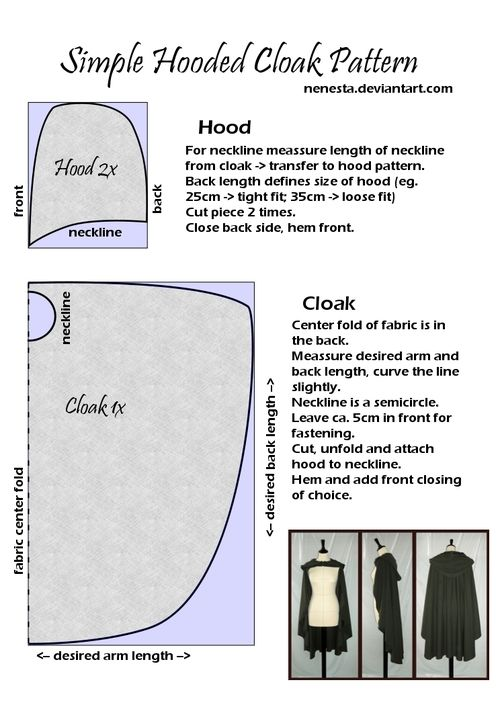 Simple Hooded Cloak Pattern by ~Nenesta I want to take op sewing and I guess making this hood will be one of the first things I will try to make myself. I need it anyway to wear with a cloak for a historical inspired outfit.