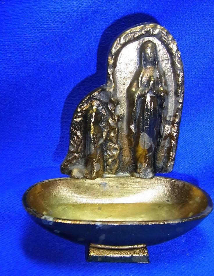 Vintage German Metal Christianity Holy Water Font Lourdes Madonna Motive #CB
