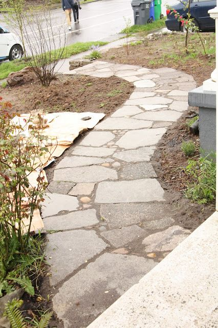 Urbanite Walkway In Progress ... Note It Includes Other Stones, As Well.  Tuscan GardenMediterranean GardenConcrete PatioRecycled ...