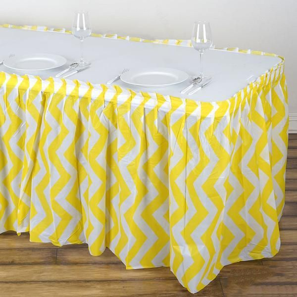 14ft Yellow 10 Mil Thick Chevron Plastic Table Skirts Disposable Table Skirt Spill Proof In 2020 Plastic Tables Table Skirt Stylish Tables