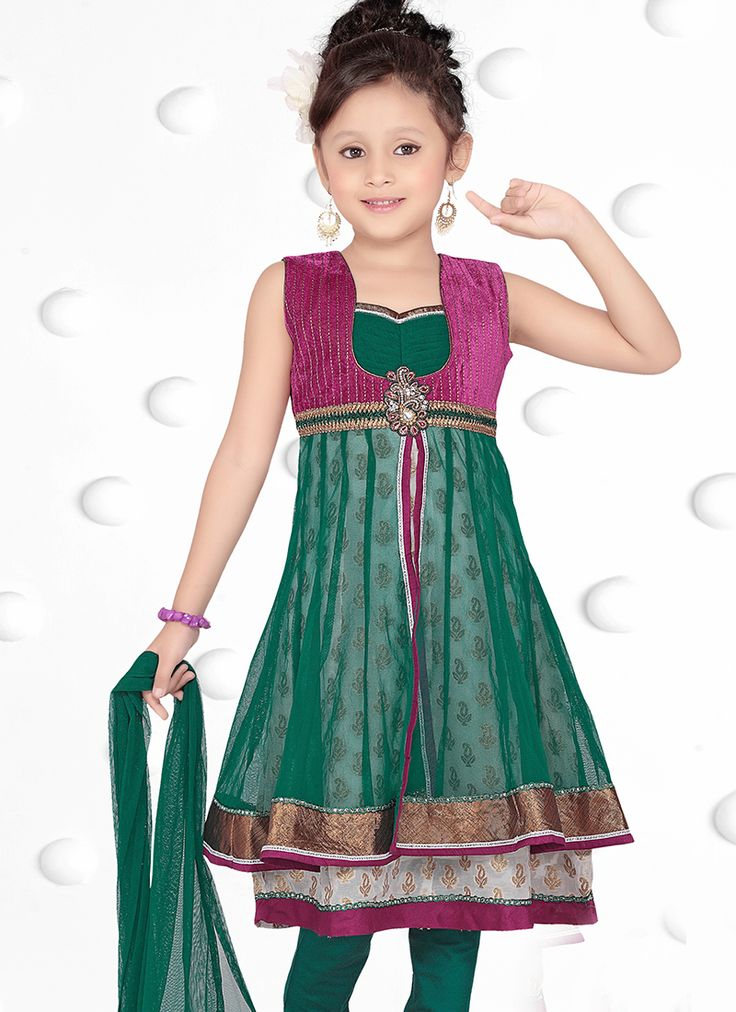 Bewitching Net Green Designer Kids Wear Salwar Suit
