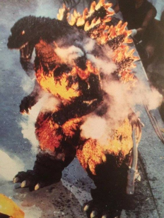 Burning Godzilla on set for GODZILLA VS DESTROYAH (1995)