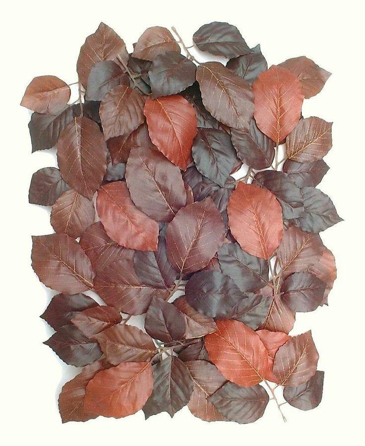 100 Autumn Leaves, Artifical Foliage Replica Silk Plant Greenery Fall Decoration