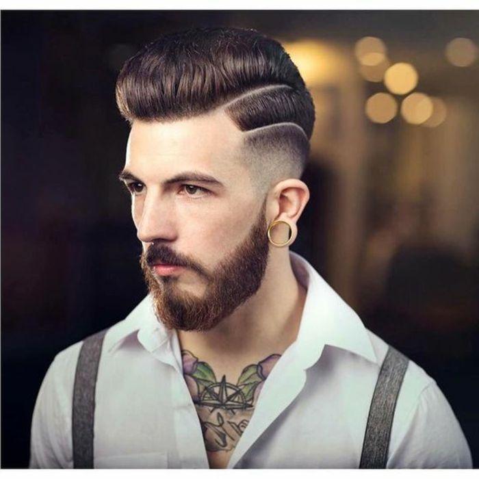 barbas-de-moda-estilo-moderno-bien-cortada-hombre-extravagante-pelo-castaño-tatuajes