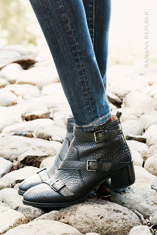 Our Evelyn Moto Boot is the perfect black leather bootie with buckle details and a cushioned insole designed for all-day comfort. 100% Leather. Side zip. Two inch block heel. Shop now.
