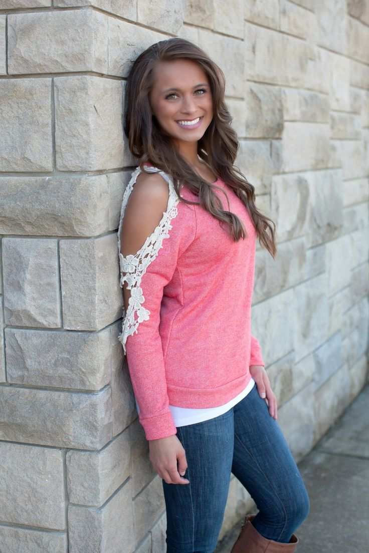 The Pink Lily Boutique - The Good Life Open Lace Blouse Coral, $38.00 (http://thepinklilyboutique.com/the-good-life-open-lace-blouse-coral/)