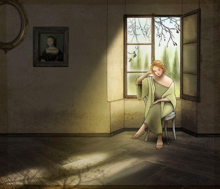Sole d'autunno (l'estate di S. Martino). Pen + soft pastels + Photoshop. #illustration #art #poetry #graphics #autumn #light #interior