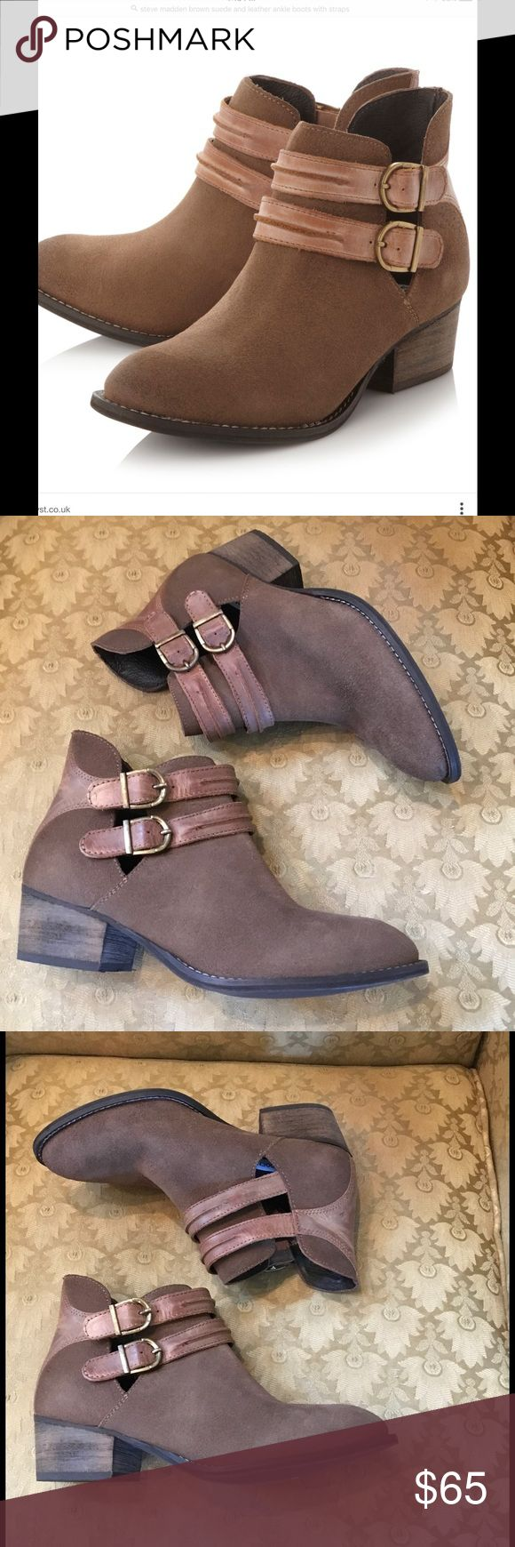 Steve Madden suede and leather ankle boot Sz 8 NEW NEVER worn super cute and trendy ankle boots with straps Steve Madden Shoes Ankle Boots & Booties