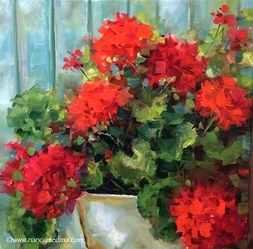 Garden Covenant Red Geraniums - Flower Paintings by Nancy Medina, painting by artist Nancy Medina