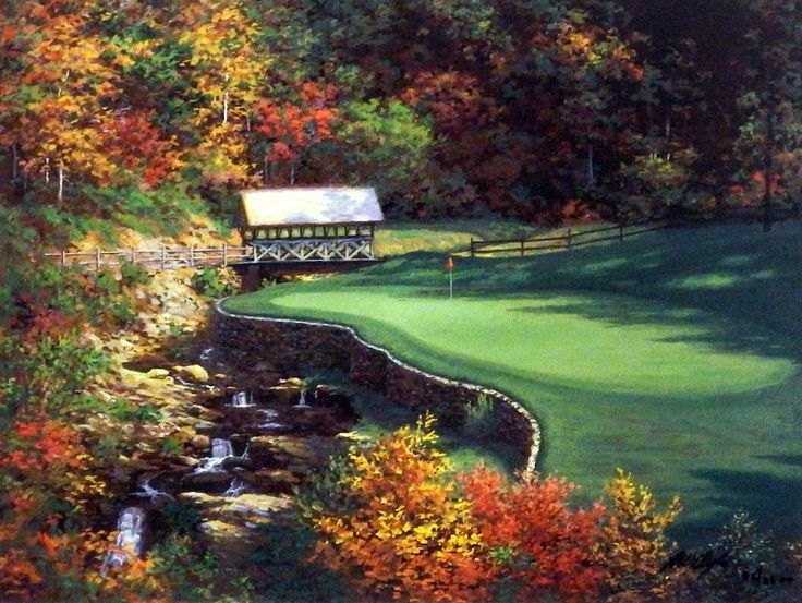 """Larry Dyke The Thirteenth at Atlanta Country club golf Print SN 12"""""""" x 9 """"  Love Golf? Join the Honourable Society of Golf Fanatics. You'll Love Us. golffanatics.org (Scroll to the bottom of the home page and sign up for our Blog)"""