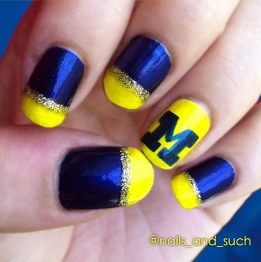 Perfect blue and yellow nails for Michigan