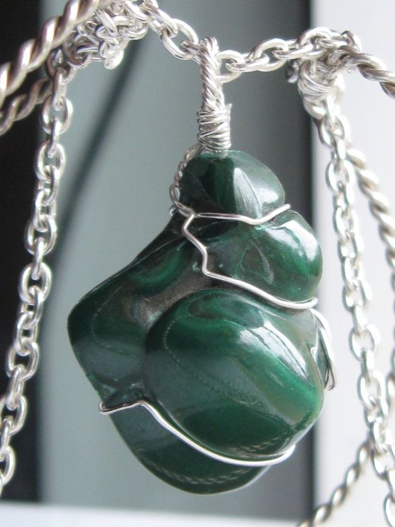 Malachite pendant wire wrapped in sterling silver & silver necklace by CraftyCristian, $60.00