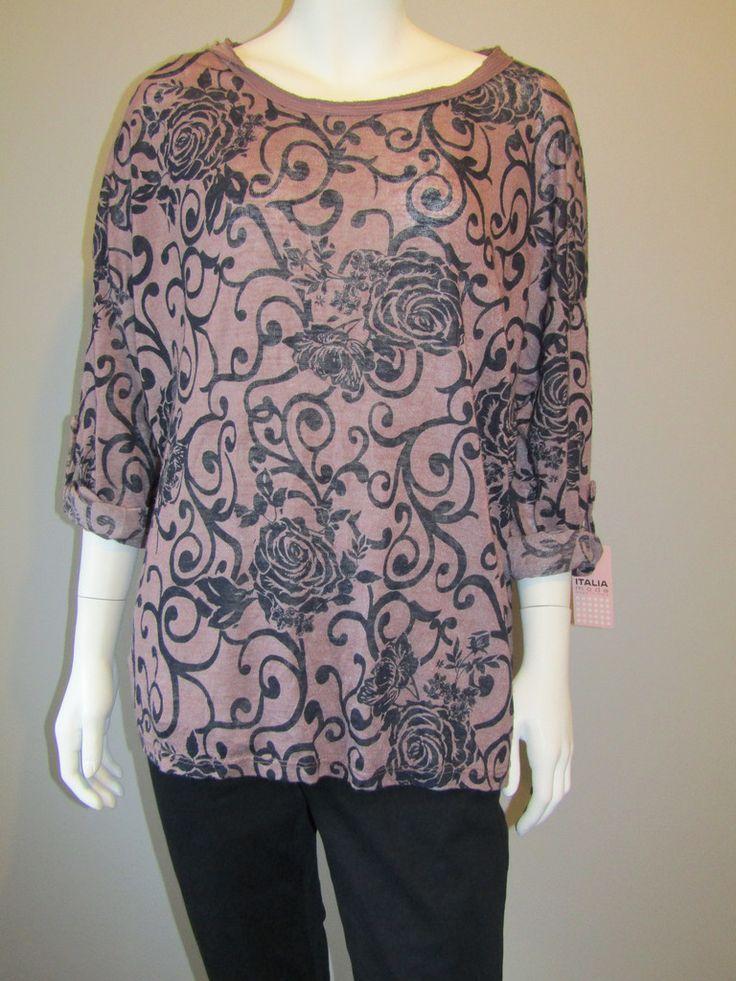 Lagenlook top 5274 pink/black