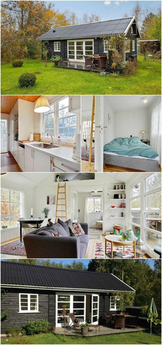 463sf Tiny House with All-White Interior for Sale in Denmark - We search the world over to share beautiful tiny houses with you and we've found out that some of the most impressive homes are in Denmark! The next one we found is a classic black-and-white summer house on the north coast of Zealand, Denmark. With 463 square feet inside, it's a beautiful getaway and it's currently for sale for $135,000