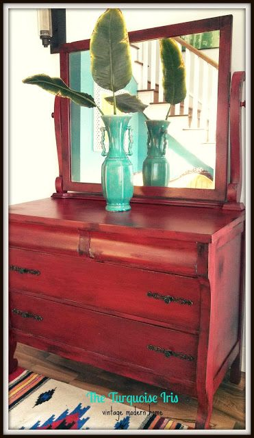 The Turquoise Iris ~ Vintage Modern Home: Antique Dresser & Mirror In Exotic Red