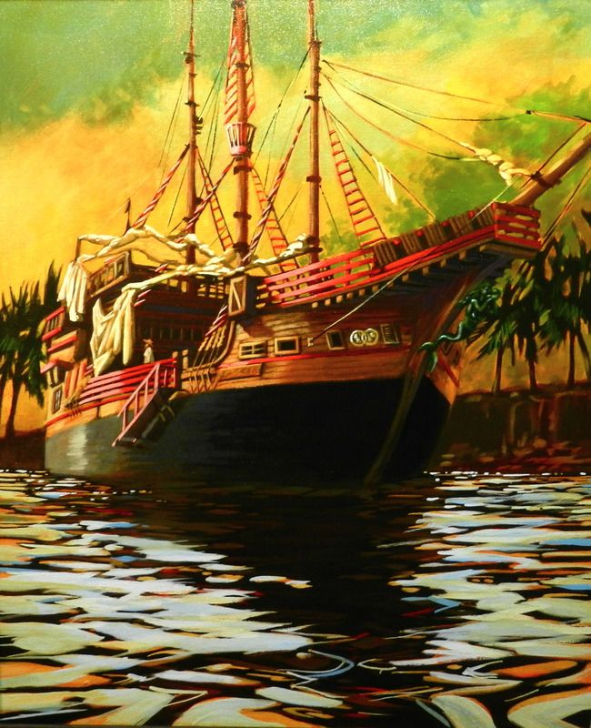 """""""Warm Gaze From the Santa Maria"""" by Bryan Coombes. #art #painting #artwork #canvas #marine #boat #marineart #seascape #sailing #sailboat"""