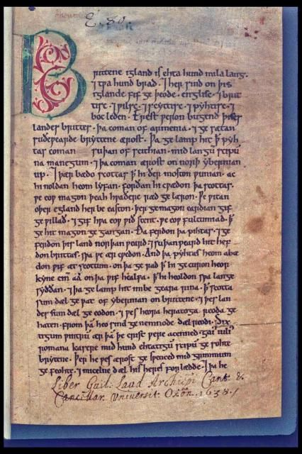 The Peterbrough Chronicle. The Anglo-Saxon Chronicles refer to a collection of old writings and manuscripts kept by monasteries across England. They are written in blackletter and tell the history of the Anglo-Saxons. The recording started in the 9th century during the reign of Alfred the Great and stopped at different times in different regions. The Peterborough chronicle was still being updated as late as 1154.