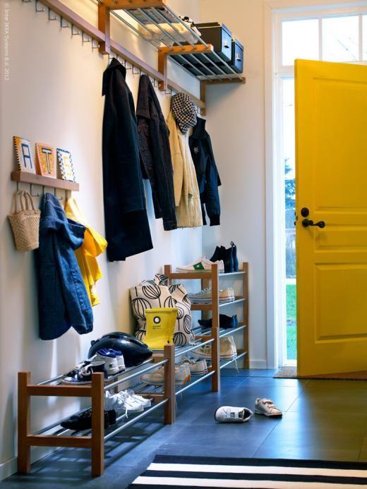 EntrywayGarages Mudroom, Ikea Entryway, Front Entryway, Entrance Ideas, Entryway Hal, Entryway Organic, Hallways Organic, Yellow Doors, Ikea Mudroom