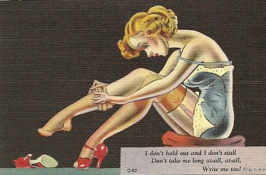 CURT TEICH POSTCARD COMPANY CHICAGO - PIN-UP - CARTOON - WRITE ME SOON - 1950s