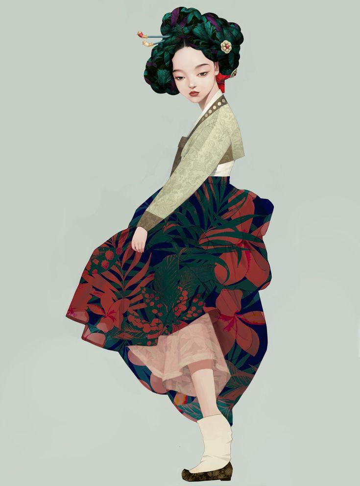 Korean geisha, Siwoo Kim on ArtStation at https://www.artstation.com/artwork/0oYVy