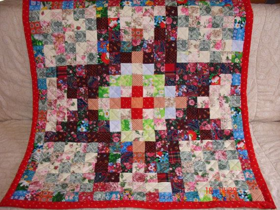 Handmade Vintage Quilt Patchwork Hand made 106 x 106 от warmquilts