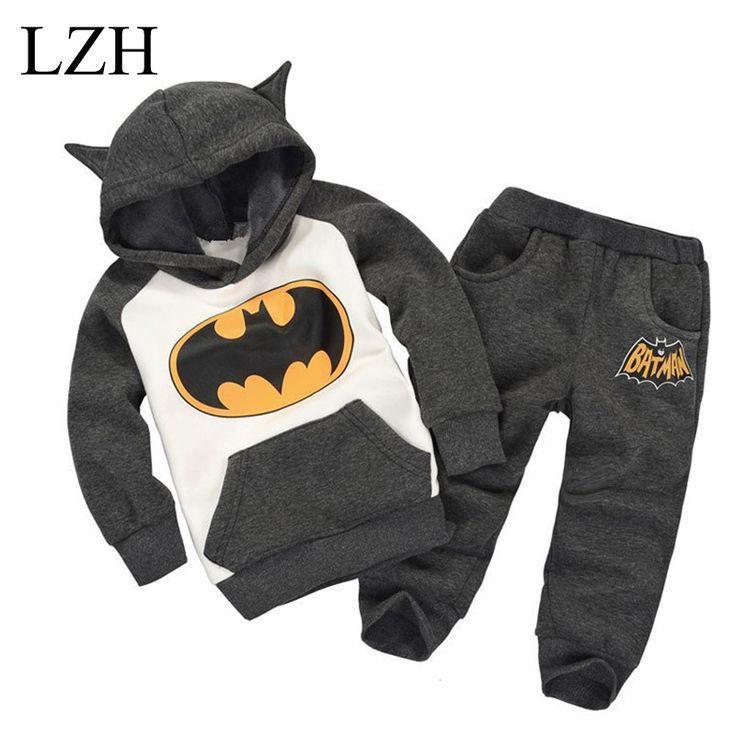 LZH Baby Boys Clothing Sets Girls Clothes Set 2017 Spring Girls Clothes Hoodies+Pants Kids Sport Suit Batman Children Clothing