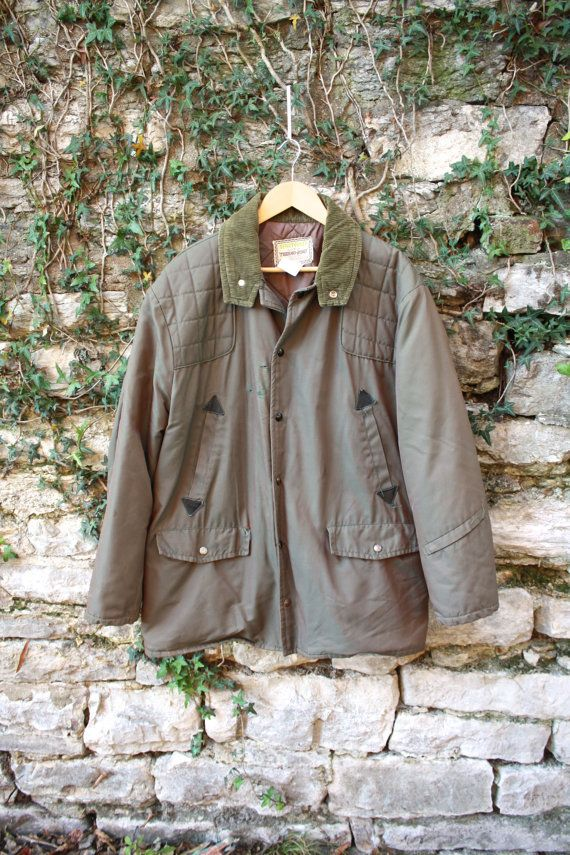 Green Quilted Hunting Jacket Leather Corduroy by flickaochpojke, $105.00