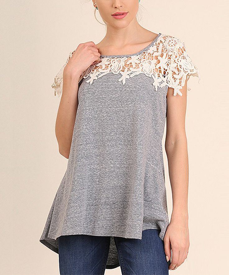 Take a look at this Cool Gray Crochet Short-Sleeve Top today!