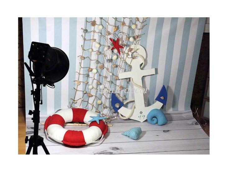 Fishing net. Sea net. Marine Net with seashells. Ancor. For decoration, for weddings, holiday.