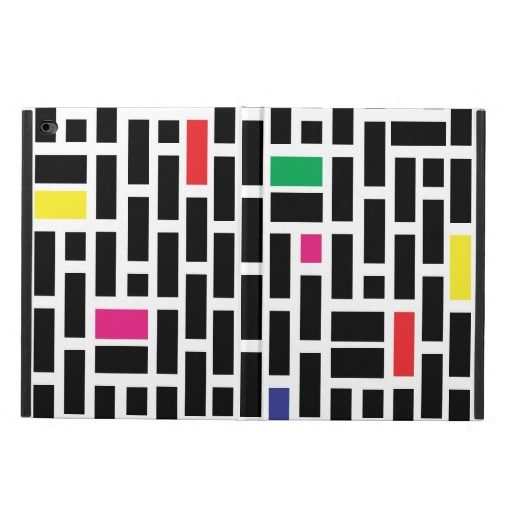 Modern rectangles abstract design in black and white with random color rectangles