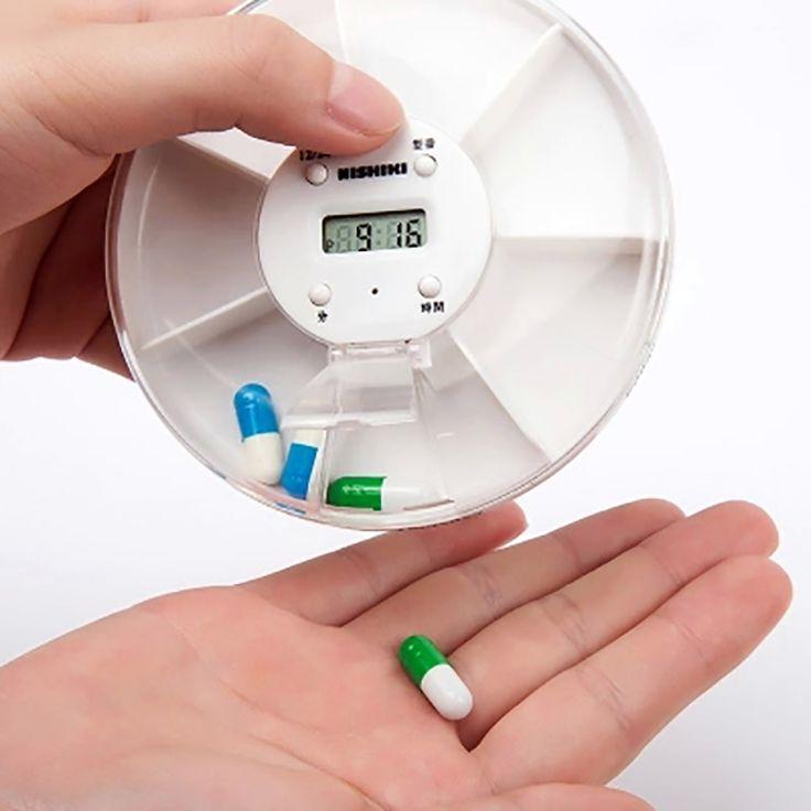7 Días Caja de la Píldora Portable 5 Alarmas Médico Medicina Storage Case Organizador Recordatorio Temporizado Digital Contenedor de equipo Médico